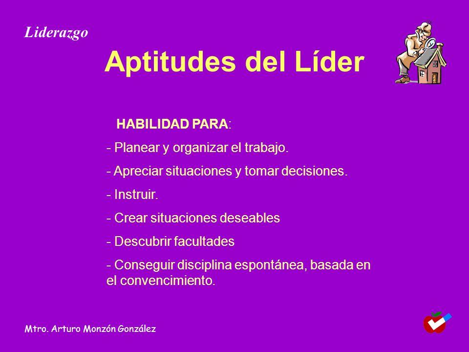 Aptitudes del Líder HABILIDAD PARA: - Planear y organizar el trabajo. - Apreciar situaciones y tomar decisiones. - Instruir. - Crear situaciones desea