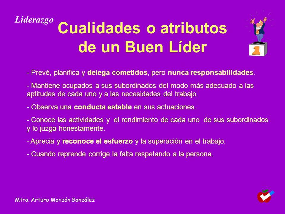 Cualidades o atributos de un Buen Líder - Prevé, planifica y delega cometidos, pero nunca responsabilidades. - Mantiene ocupados a sus subordinados de