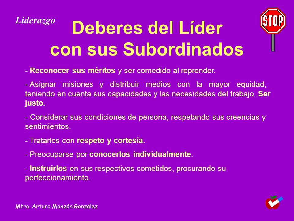Deberes del Líder con sus Subordinados - Reconocer sus méritos y ser comedido al reprender.