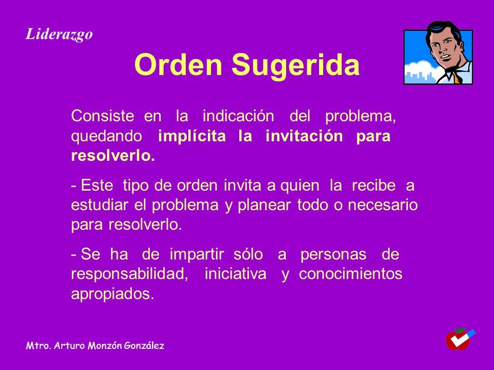 Orden Sugerida Consiste en la indicación del problema, quedando implícita la invitación para resolverlo.