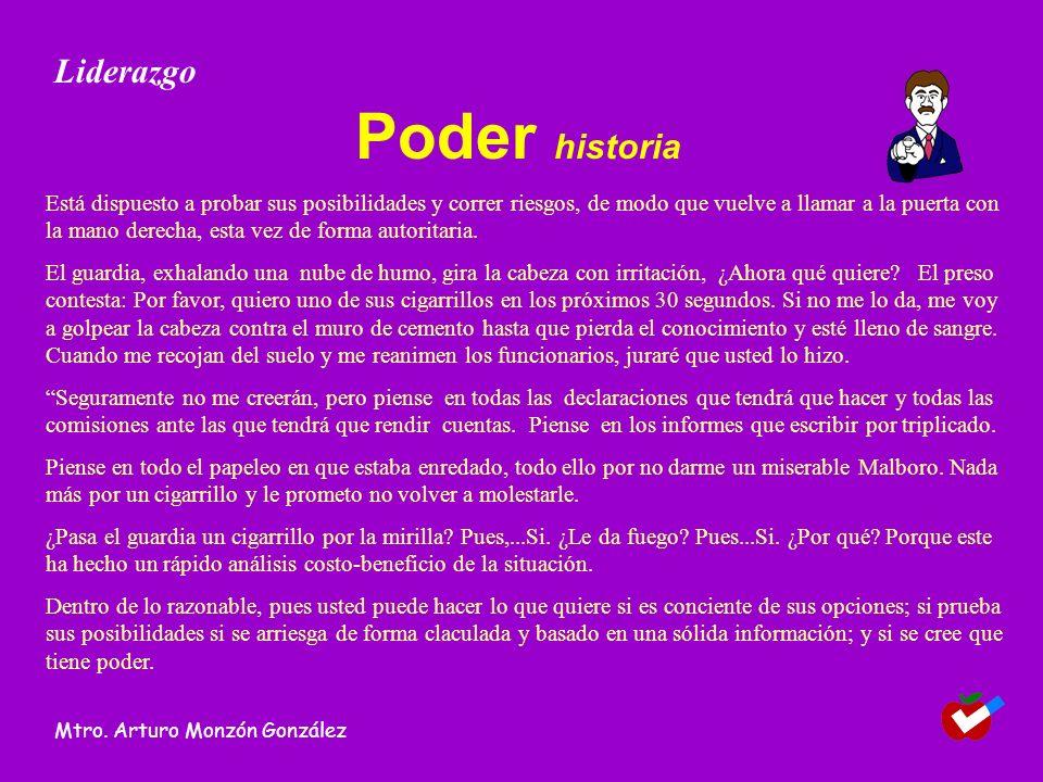 Líder Es aquella persona con capacidad de influír en otras Liderazgo Mtro. Arturo Monzón González