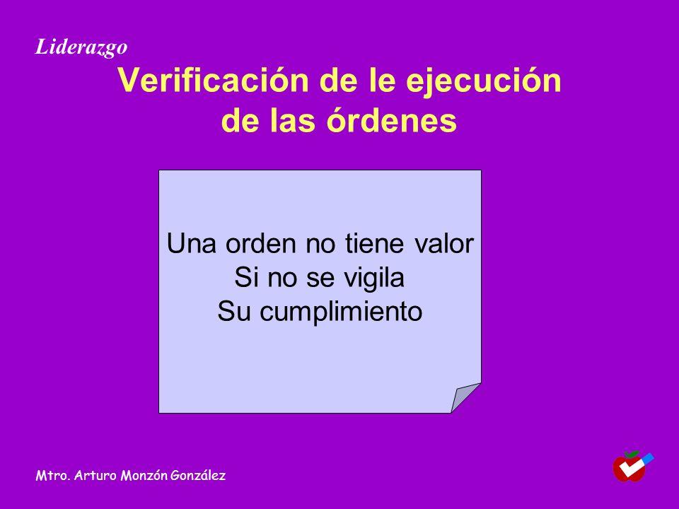 Verificación de le ejecución de las órdenes Una orden no tiene valor Si no se vigila Su cumplimiento Liderazgo Mtro.