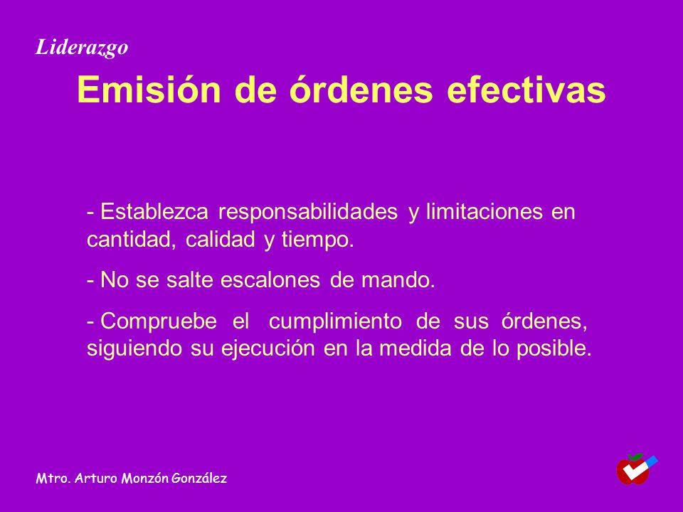 Emisión de órdenes efectivas - Establezca responsabilidades y limitaciones en cantidad, calidad y tiempo. - No se salte escalones de mando. - Comprueb