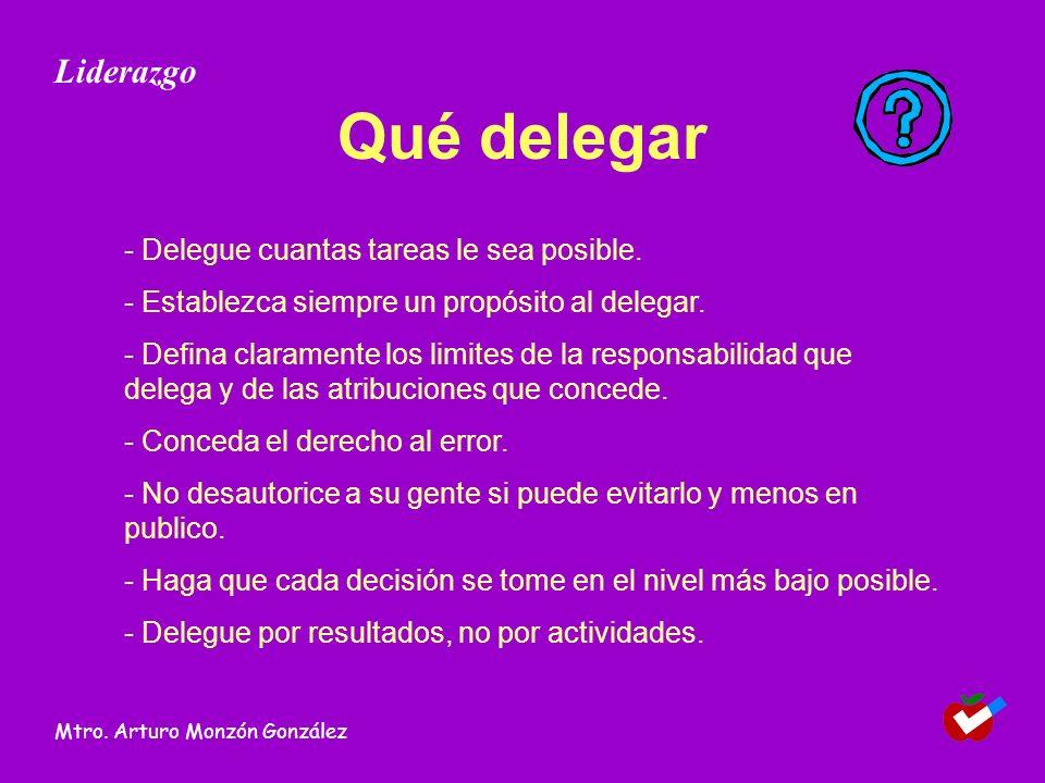 Qué delegar - Delegue cuantas tareas le sea posible. - Establezca siempre un propósito al delegar. - Defina claramente los limites de la responsabilid