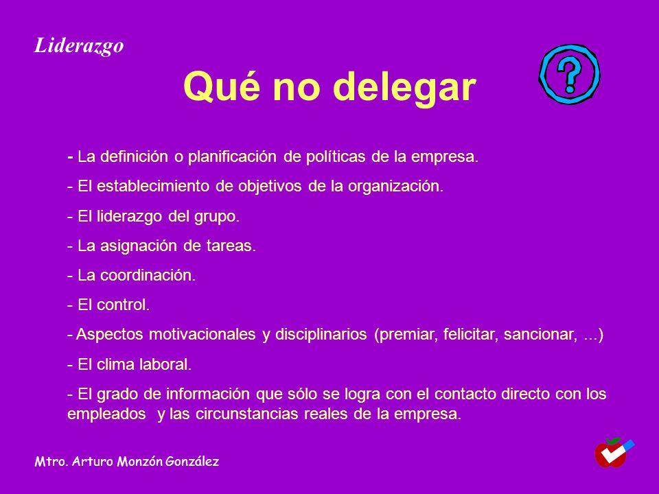 Qué no delegar - La definición o planificación de políticas de la empresa. - El establecimiento de objetivos de la organización. - El liderazgo del gr