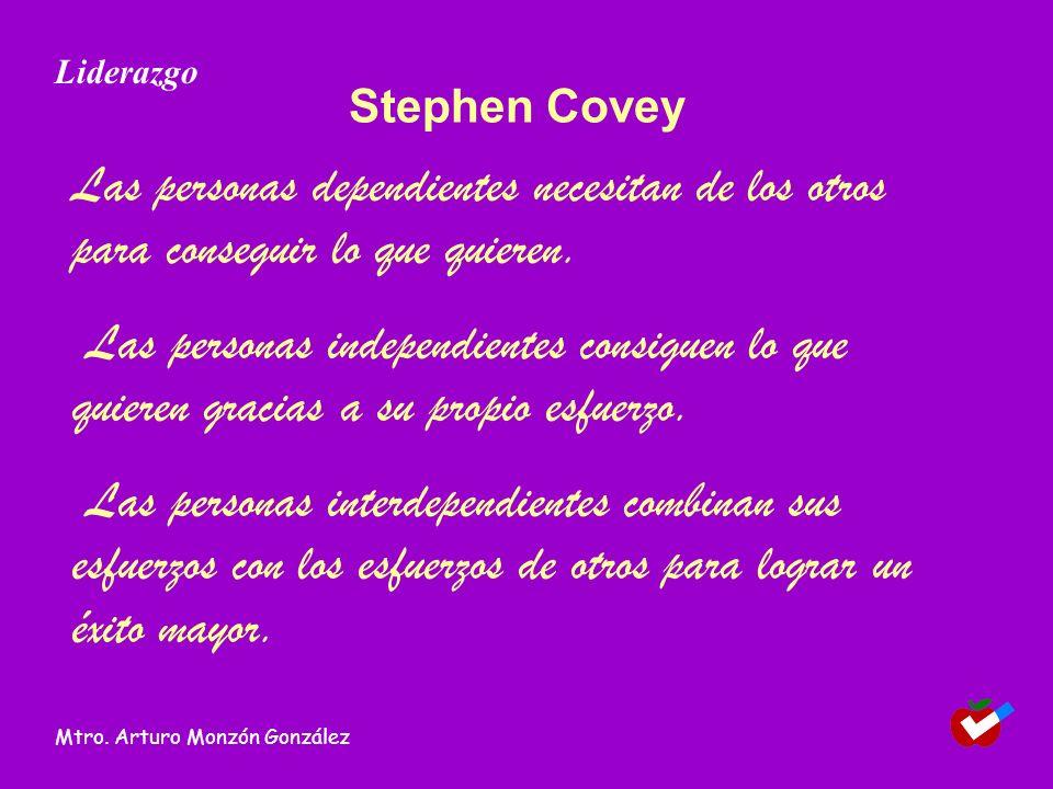 Stephen Covey Las personas dependientes necesitan de los otros para conseguir lo que quieren. Las personas independientes consiguen lo que quieren gra