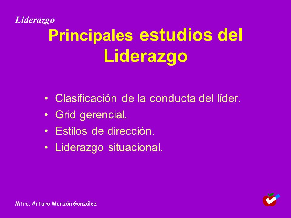 Principales estudios del Liderazgo Clasificación de la conducta del líder. Grid gerencial. Estilos de dirección. Liderazgo situacional. Liderazgo Mtro