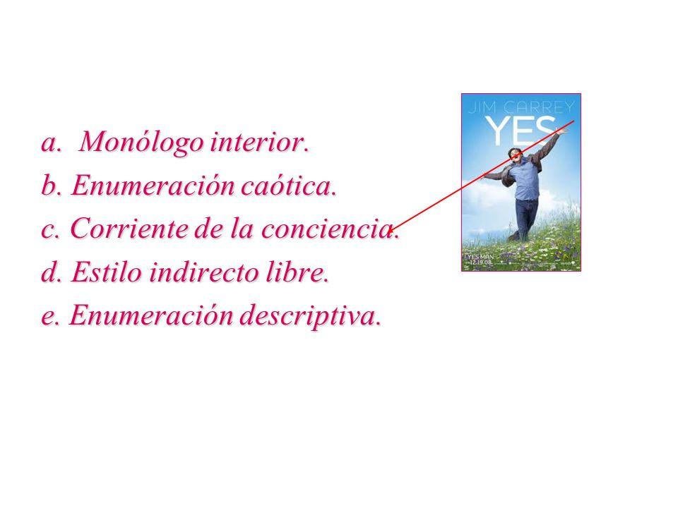 a. Monólogo interior. b. Enumeración caótica. c. Corriente de la conciencia. d. Estilo indirecto libre. e. Enumeración descriptiva.