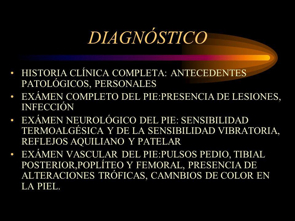 DIAGNÓSTICO HISTORIA CLÍNICA COMPLETA: ANTECEDENTES PATOLÓGICOS, PERSONALES EXÁMEN COMPLETO DEL PIE:PRESENCIA DE LESIONES, INFECCIÓN EXÁMEN NEUROLÓGIC