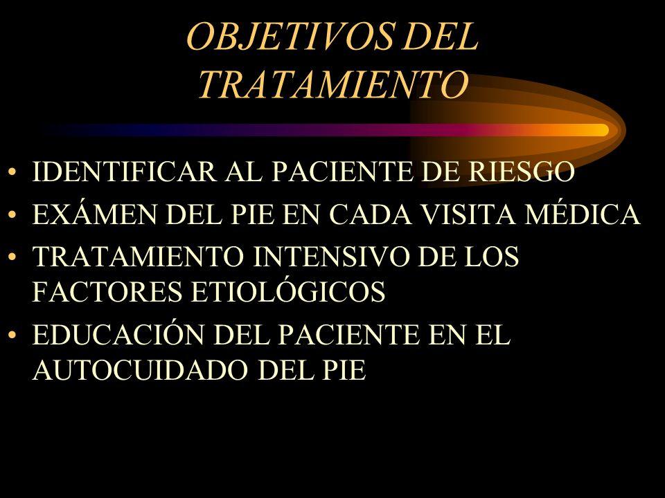 OBJETIVOS DEL TRATAMIENTO IDENTIFICAR AL PACIENTE DE RIESGO EXÁMEN DEL PIE EN CADA VISITA MÉDICA TRATAMIENTO INTENSIVO DE LOS FACTORES ETIOLÓGICOS EDU