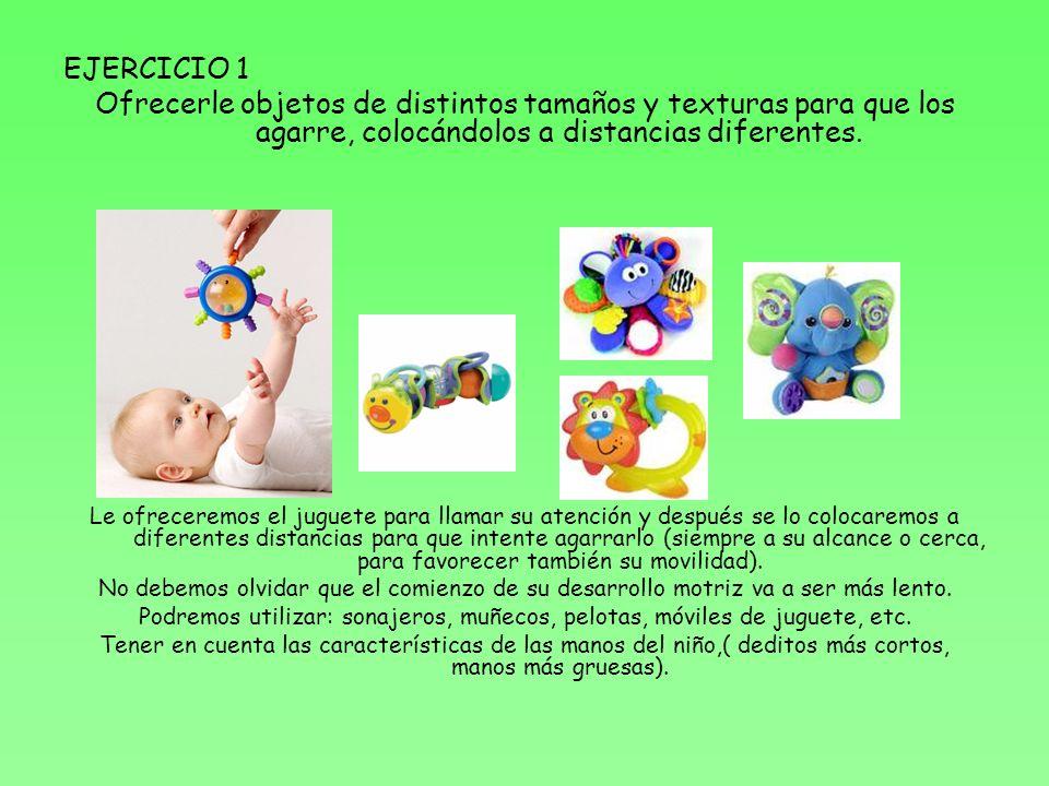 EJERCICIO 1 Ofrecerle objetos de distintos tamaños y texturas para que los agarre, colocándolos a distancias diferentes. Le ofreceremos el juguete par