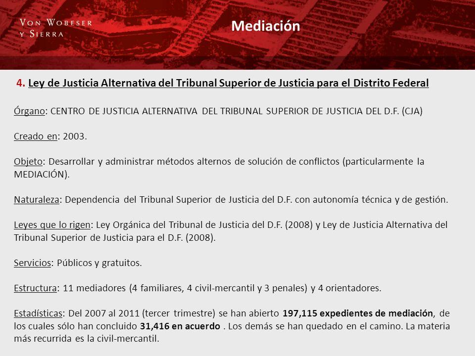 Mediación 4. Ley de Justicia Alternativa del Tribunal Superior de Justicia para el Distrito Federal Órgano: CENTRO DE JUSTICIA ALTERNATIVA DEL TRIBUNA