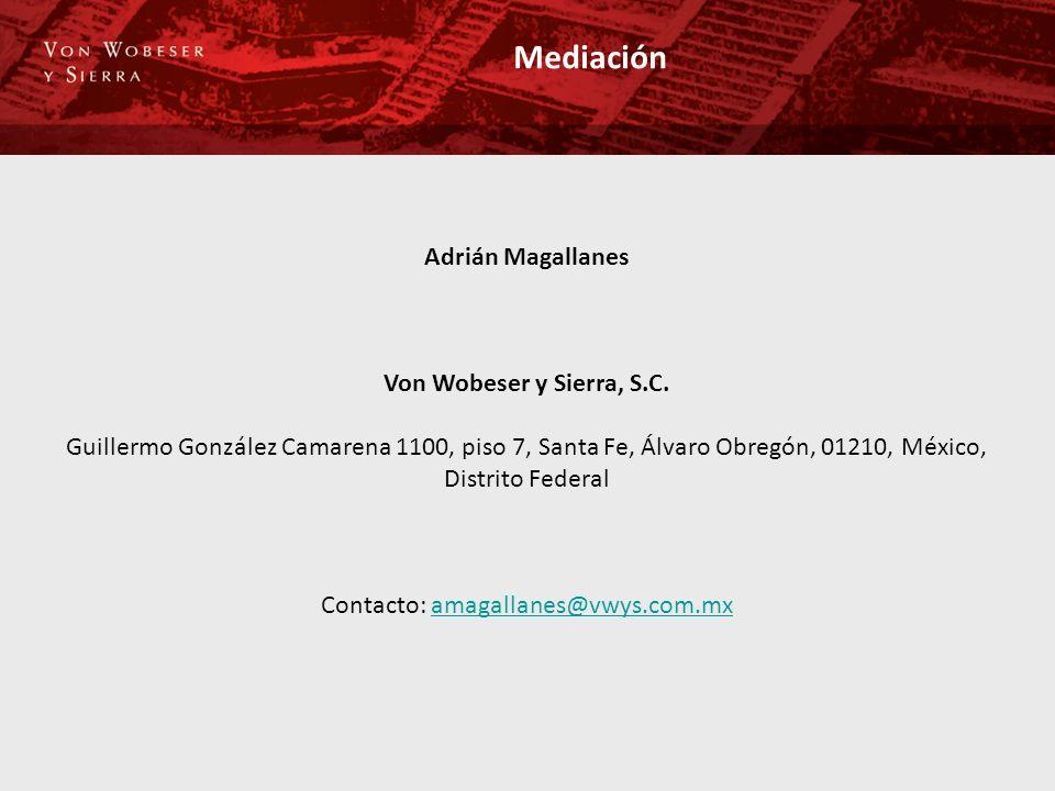 Mediación Adrián Magallanes Von Wobeser y Sierra, S.C. Guillermo González Camarena 1100, piso 7, Santa Fe, Álvaro Obregón, 01210, México, Distrito Fed