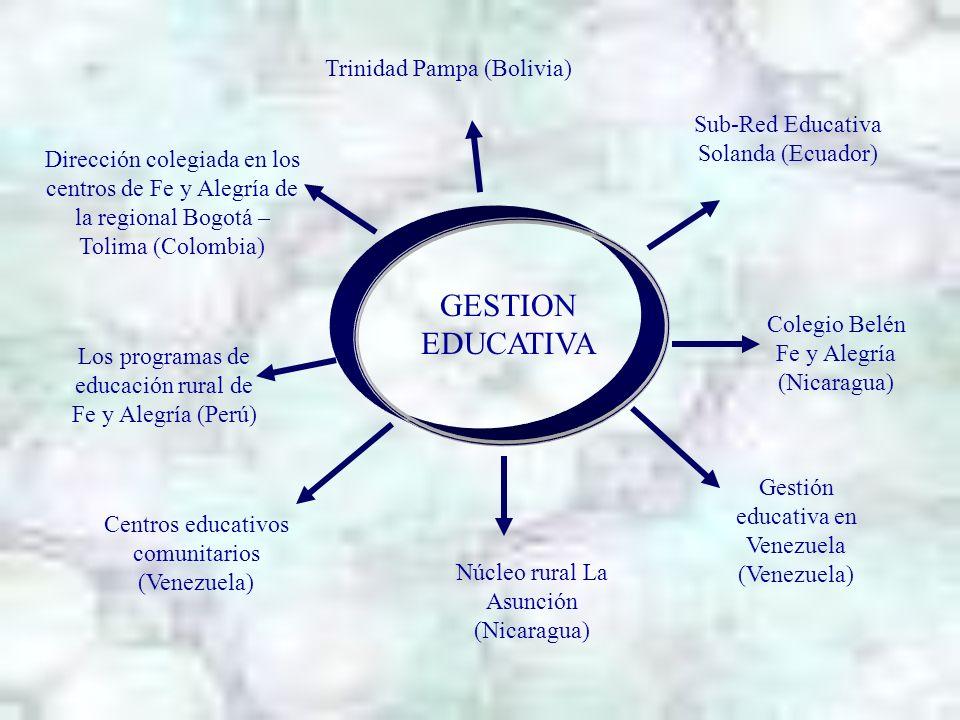 GESTION EDUCATIVA Dirección colegiada en los centros de Fe y Alegría de la regional Bogotá – Tolima (Colombia) Los programas de educación rural de Fe