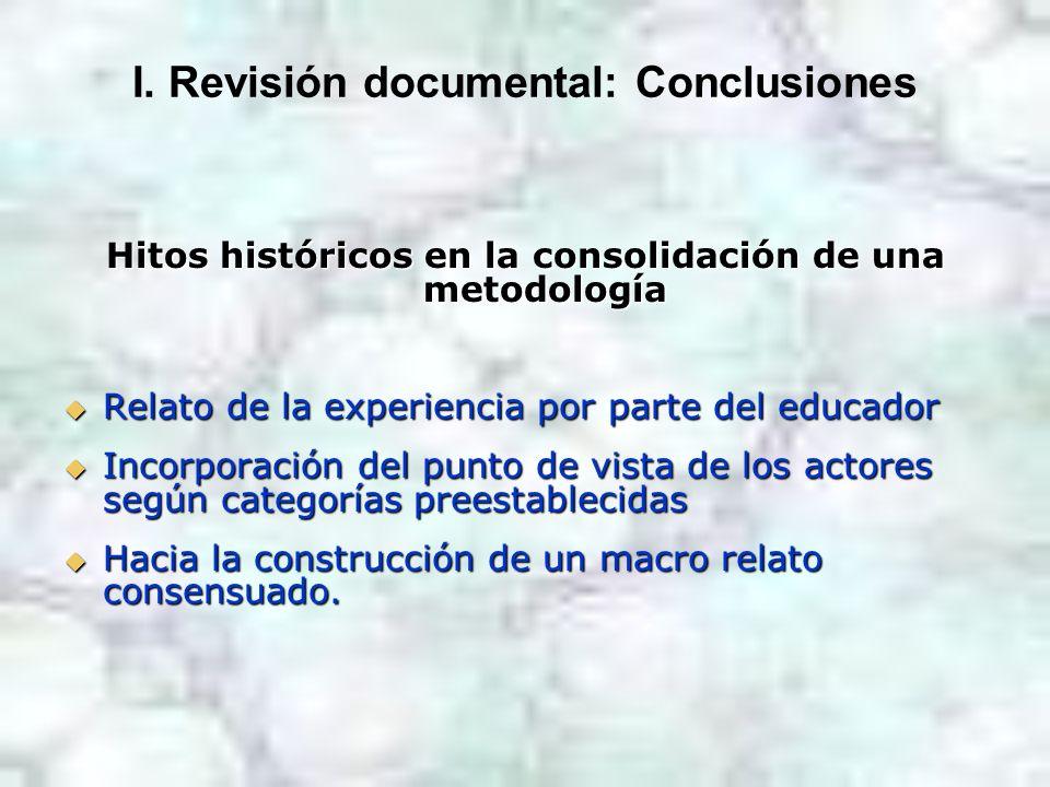 I. Revisión documental: Conclusiones Hitos históricos en la consolidación de una metodología Relato de la experiencia por parte del educador Relato de