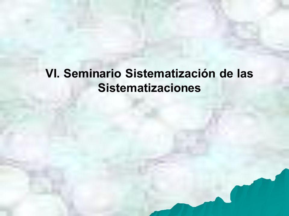 VI. Seminario Sistematización de las Sistematizaciones