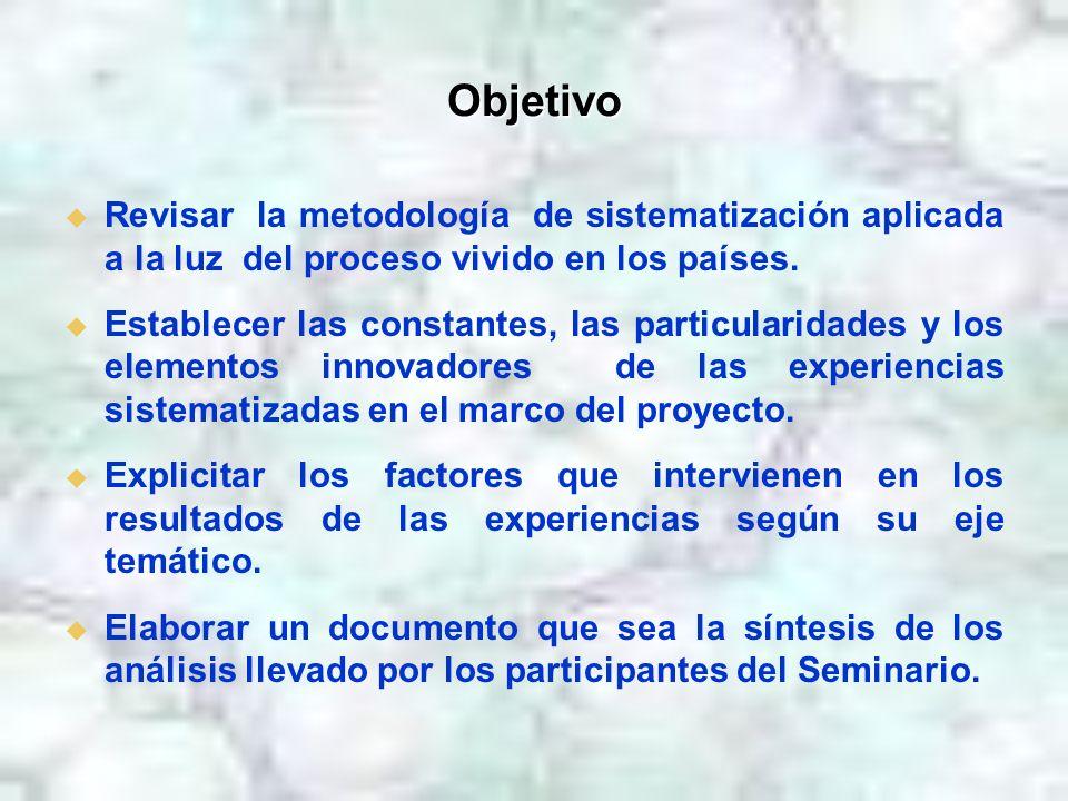Objetivo Revisar la metodología de sistematización aplicada a la luz del proceso vivido en los países. Establecer las constantes, las particularidades