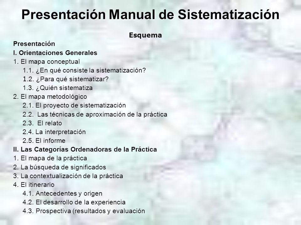 Presentación Manual de Sistematización Esquema Presentación I. Orientaciones Generales 1. El mapa conceptual 1.1. ¿En qué consiste la sistematización?