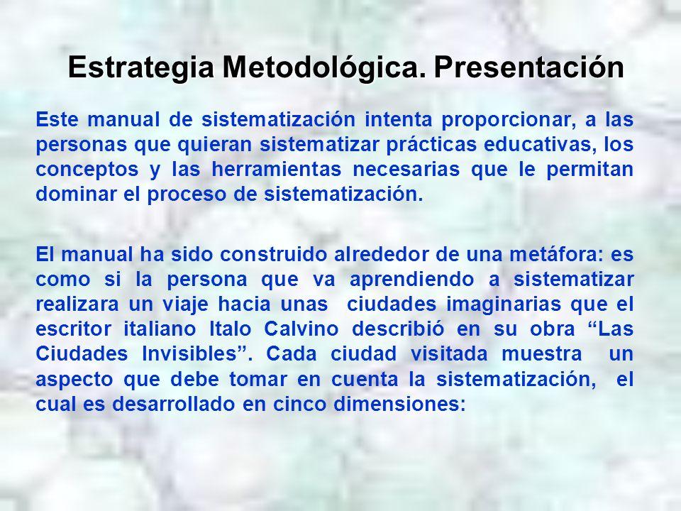 Estrategia Metodológica. Presentación Este manual de sistematización intenta proporcionar, a las personas que quieran sistematizar prácticas educativa