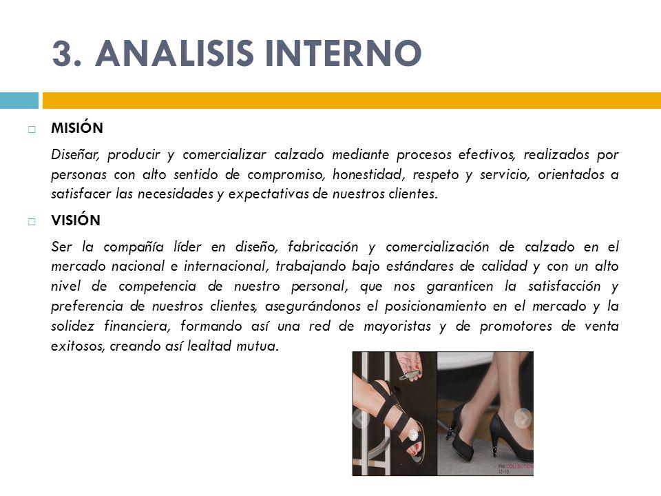 3. ANALISIS INTERNO MISIÓN Diseñar, producir y comercializar calzado mediante procesos efectivos, realizados por personas con alto sentido de compromi