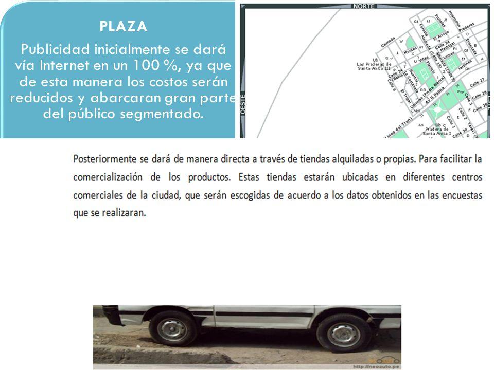 PLAZA Publicidad inicialmente se dará vía Internet en un 100 %, ya que de esta manera los costos serán reducidos y abarcaran gran parte del público se