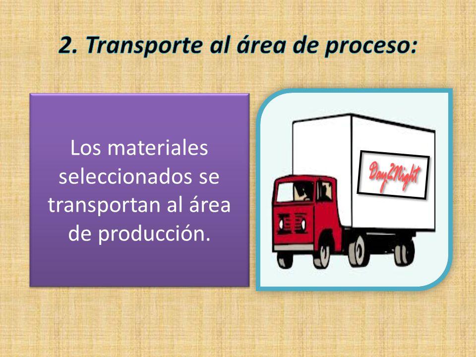 Los materiales seleccionados se transportan al área de producción.