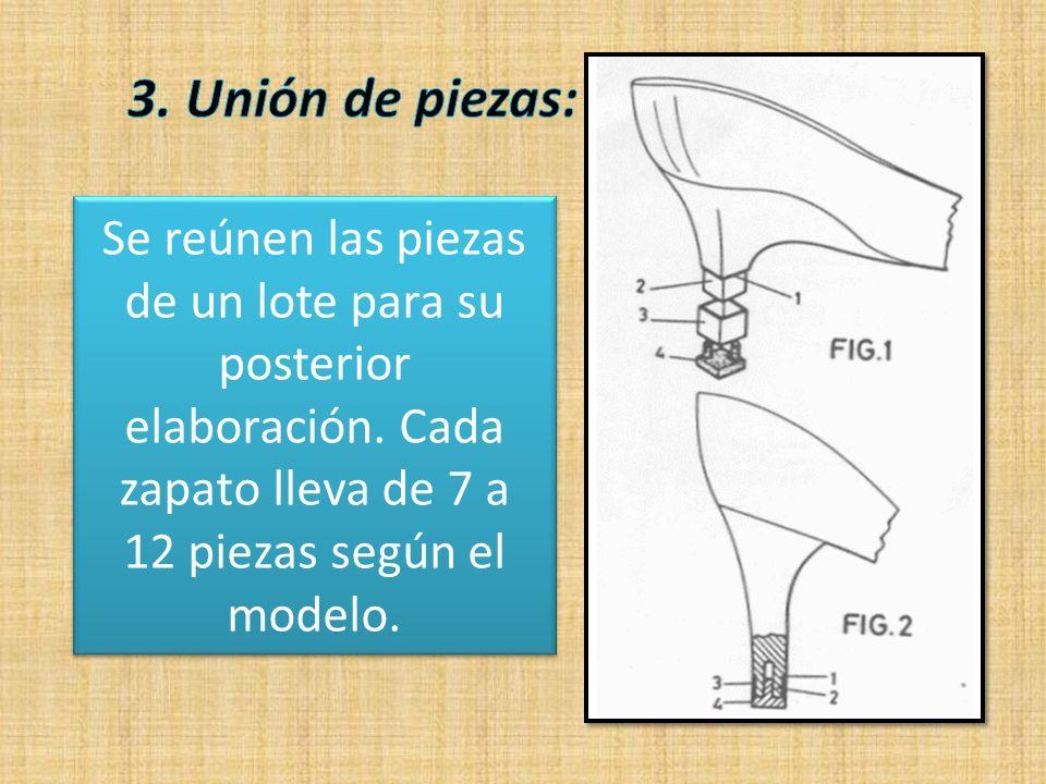 Se reúnen las piezas de un lote para su posterior elaboración. Cada zapato lleva de 7 a 12 piezas según el modelo.