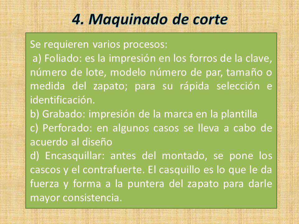 Se requieren varios procesos: a) Foliado: es la impresión en los forros de la clave, número de lote, modelo número de par, tamaño o medida del zapato;