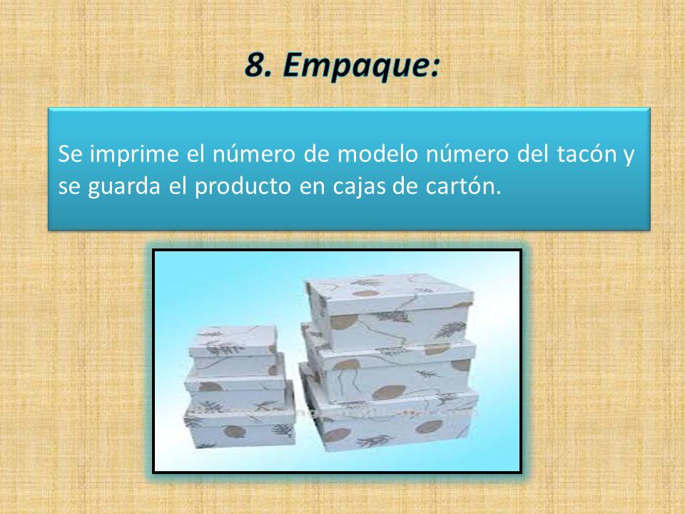 Se imprime el número de modelo número del tacón y se guarda el producto en cajas de cartón.