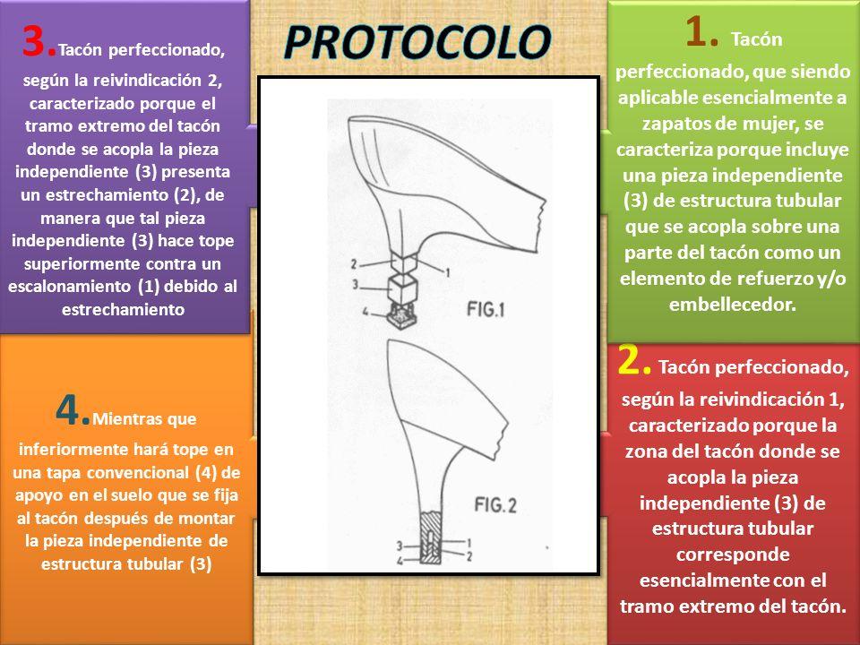 2. Tacón perfeccionado, según la reivindicación 1, caracterizado porque la zona del tacón donde se acopla la pieza independiente (3) de estructura tub