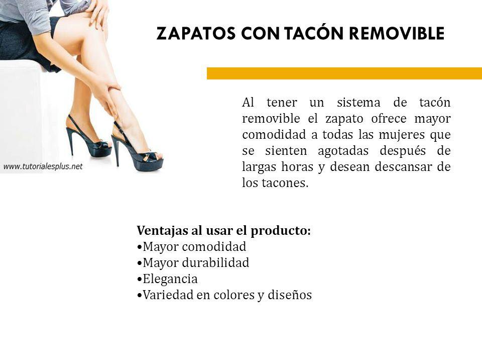 Al tener un sistema de tacón removible el zapato ofrece mayor comodidad a todas las mujeres que se sienten agotadas después de largas horas y desean d