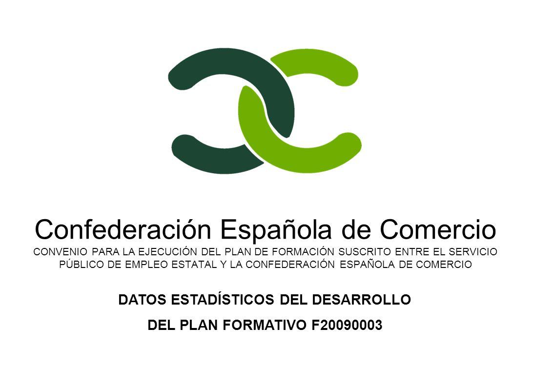 Confederación Española de Comercio CONVENIO PARA LA EJECUCIÓN DEL PLAN DE FORMACIÓN SUSCRITO ENTRE EL SERVICIO PÚBLICO DE EMPLEO ESTATAL Y LA CONFEDERACIÓN ESPAÑOLA DE COMERCIO DATOS ESTADÍSTICOS DEL DESARROLLO DEL PLAN FORMATIVO F20090003