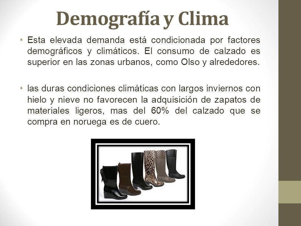 Demografía y Clima Esta elevada demanda está condicionada por factores demográficos y climáticos. El consumo de calzado es superior en las zonas urban