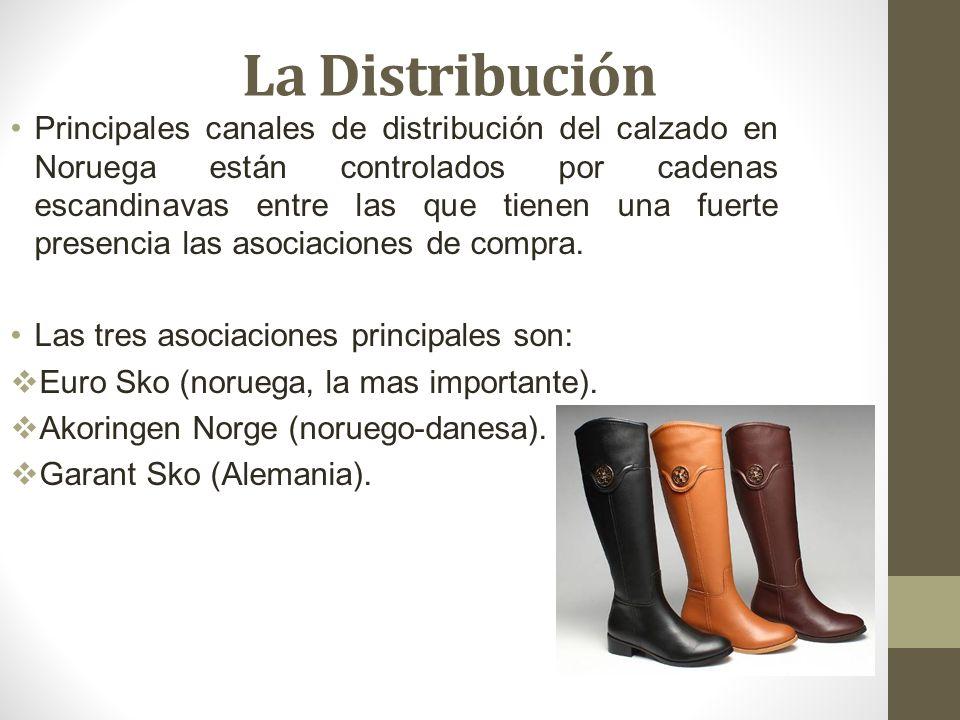 La Distribución Principales canales de distribución del calzado en Noruega están controlados por cadenas escandinavas entre las que tienen una fuerte presencia las asociaciones de compra.
