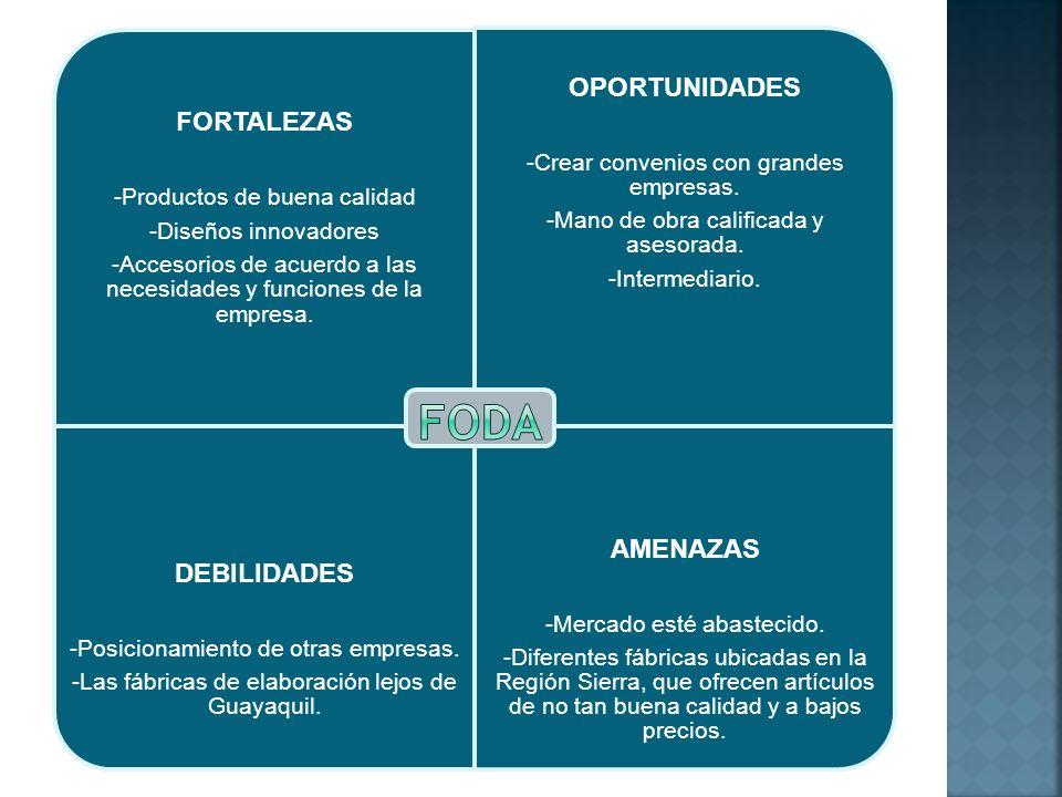 FORTALEZAS -Productos de buena calidad -Diseños innovadores -Accesorios de acuerdo a las necesidades y funciones de la empresa. OPORTUNIDADES -Crear c