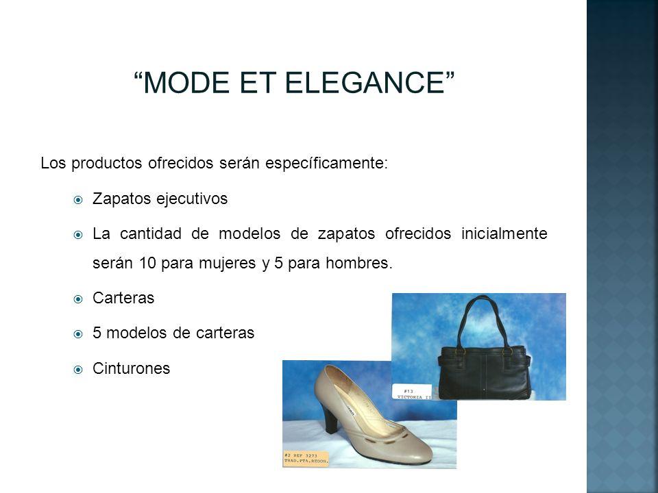 MODE ET ELEGANCE Los productos ofrecidos serán específicamente: Zapatos ejecutivos La cantidad de modelos de zapatos ofrecidos inicialmente serán 10 p