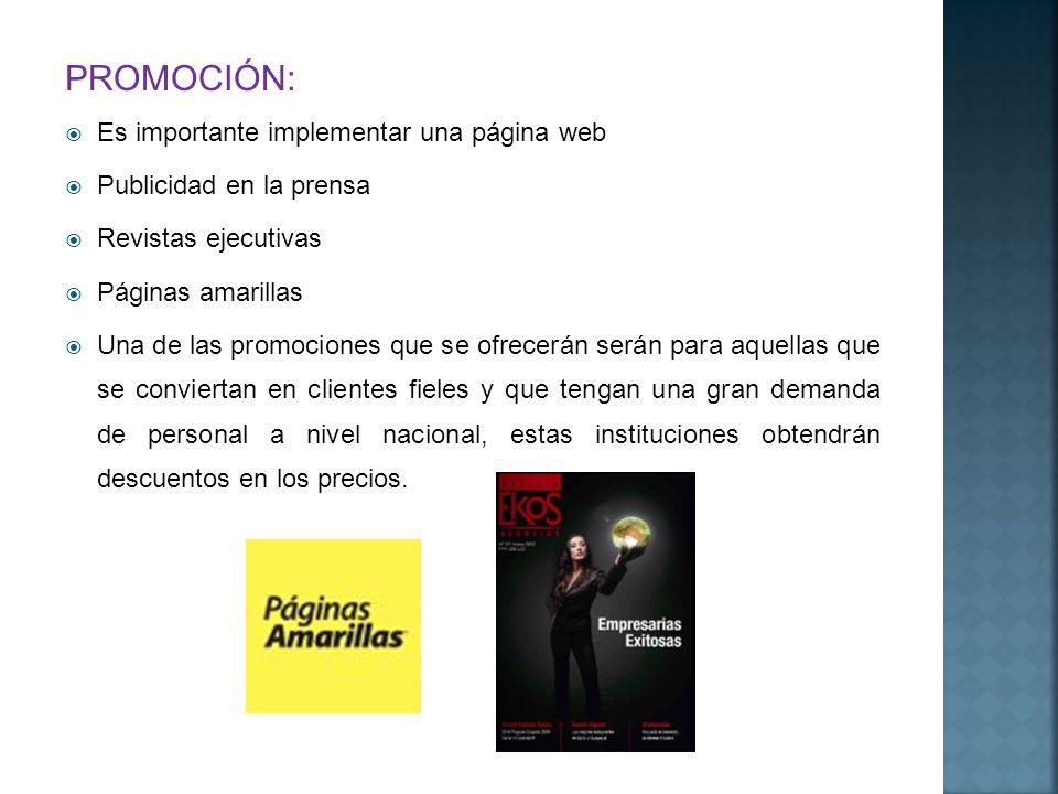 PROMOCIÓN: Es importante implementar una página web Publicidad en la prensa Revistas ejecutivas Páginas amarillas Una de las promociones que se ofrece