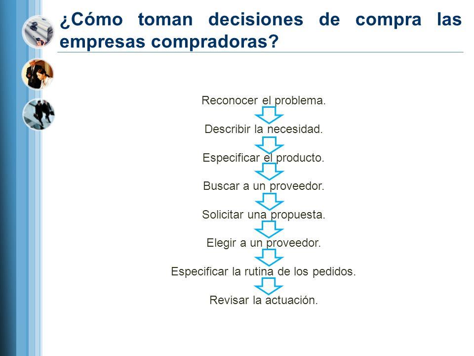 ¿Cómo toman decisiones de compra las empresas compradoras? Reconocer el problema. Describir la necesidad. Especificar el producto. Buscar a un proveed