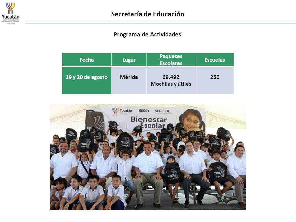 Secretaría de Educación FechaLugar Paquetes Escolares Escuelas 19 y 20 de agosto Mérida 69,492 Mochilas y útiles 250 Programa de Actividades
