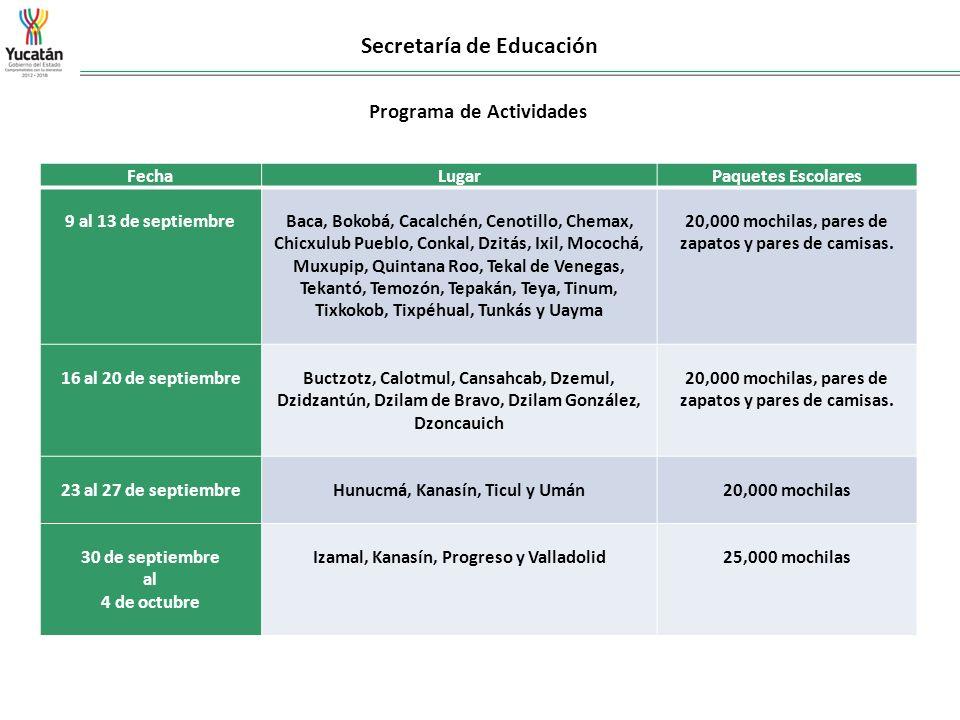 Secretaría de Educación Programa de Actividades FechaLugarPaquetes Escolares 9 al 13 de septiembre Baca, Bokobá, Cacalchén, Cenotillo, Chemax, Chicxul