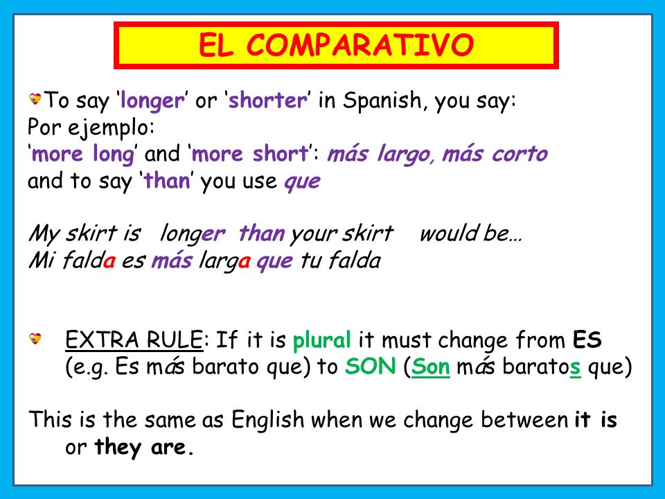 To say longer or shorter in Spanish, you say: Por ejemplo: more long and more short: más largo, más corto and to say than you use que My skirt is longer than your skirt would be… Mi falda es más larga que tu falda EXTRA RULE: If it is plural it must change from ES (e.g.
