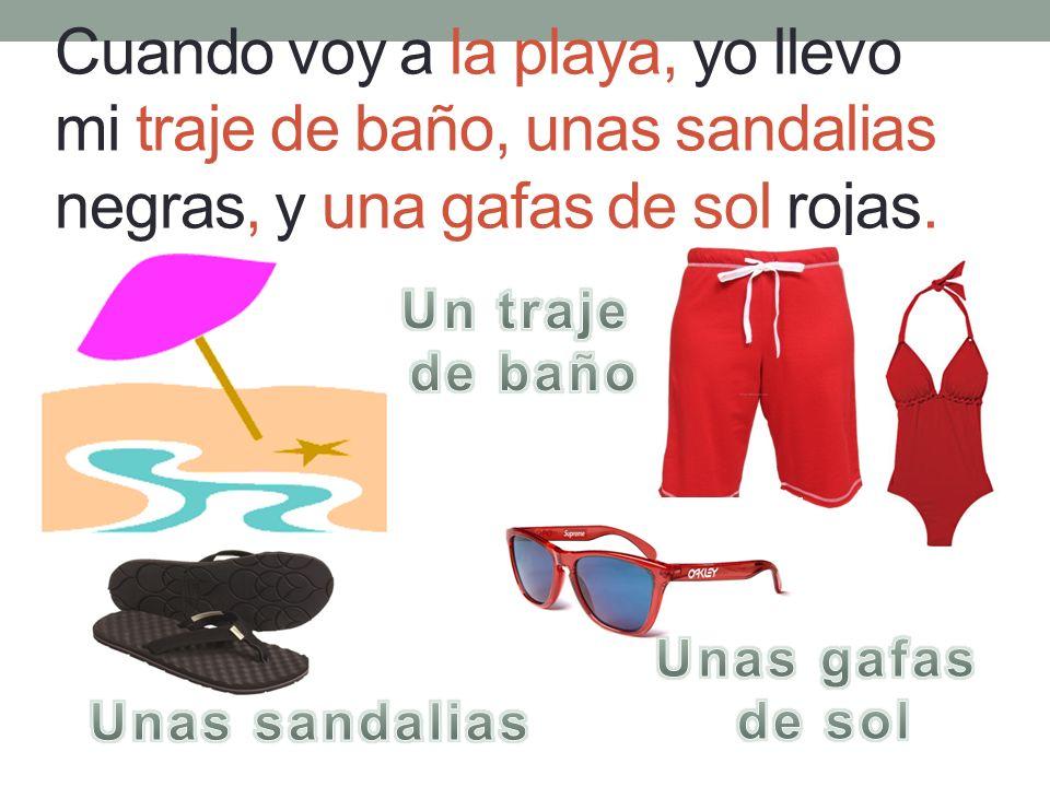 Cuando voy a la playa, yo llevo mi traje de baño, unas sandalias negras, y una gafas de sol rojas.