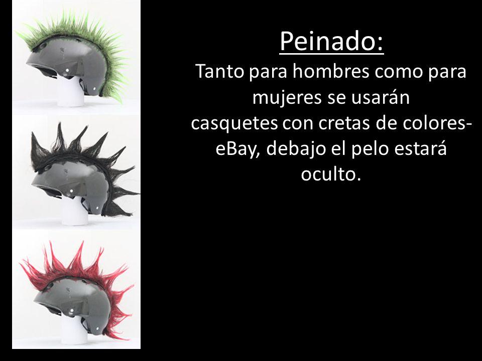 Peinado: Tanto para hombres como para mujeres se usarán casquetes con cretas de colores- eBay, debajo el pelo estará oculto.