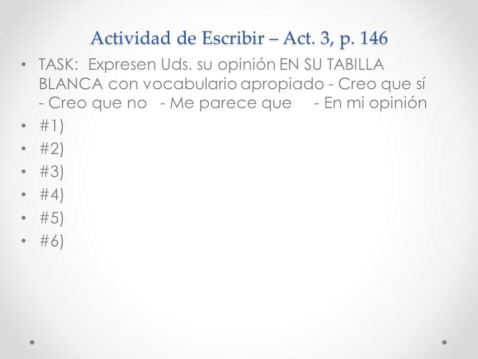 Actividad de Escribir – Act. 3, p. 146 TASK: Expresen Uds. su opinión EN SU TABILLA BLANCA con vocabulario apropiado - Creo que sí - Creo que no - Me