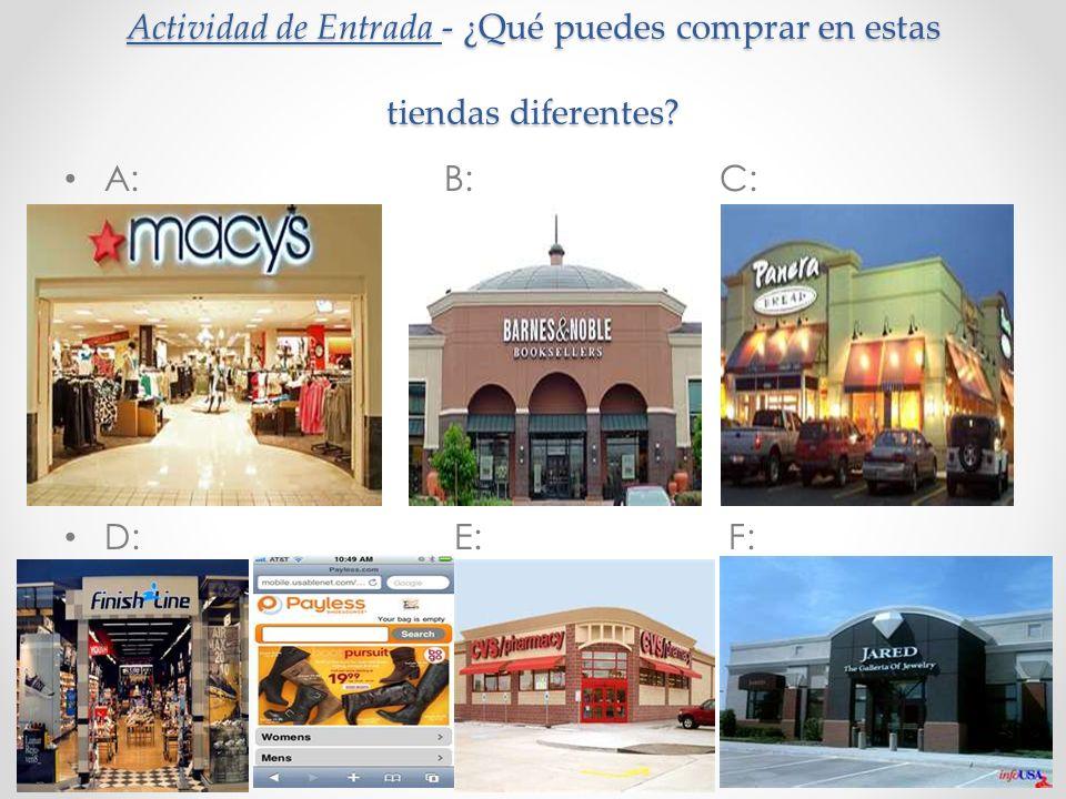 Actividad de Entrada - ¿Qué puedes comprar en estas tiendas diferentes? A: B: C: D: E: F: