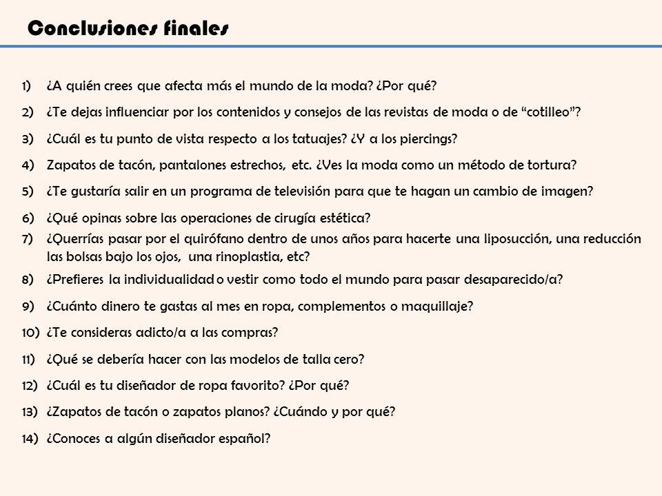 Conclusiones finales 1)¿A quién crees que afecta más el mundo de la moda? ¿Por qué? 2)¿Te dejas influenciar por los contenidos y consejos de las revis