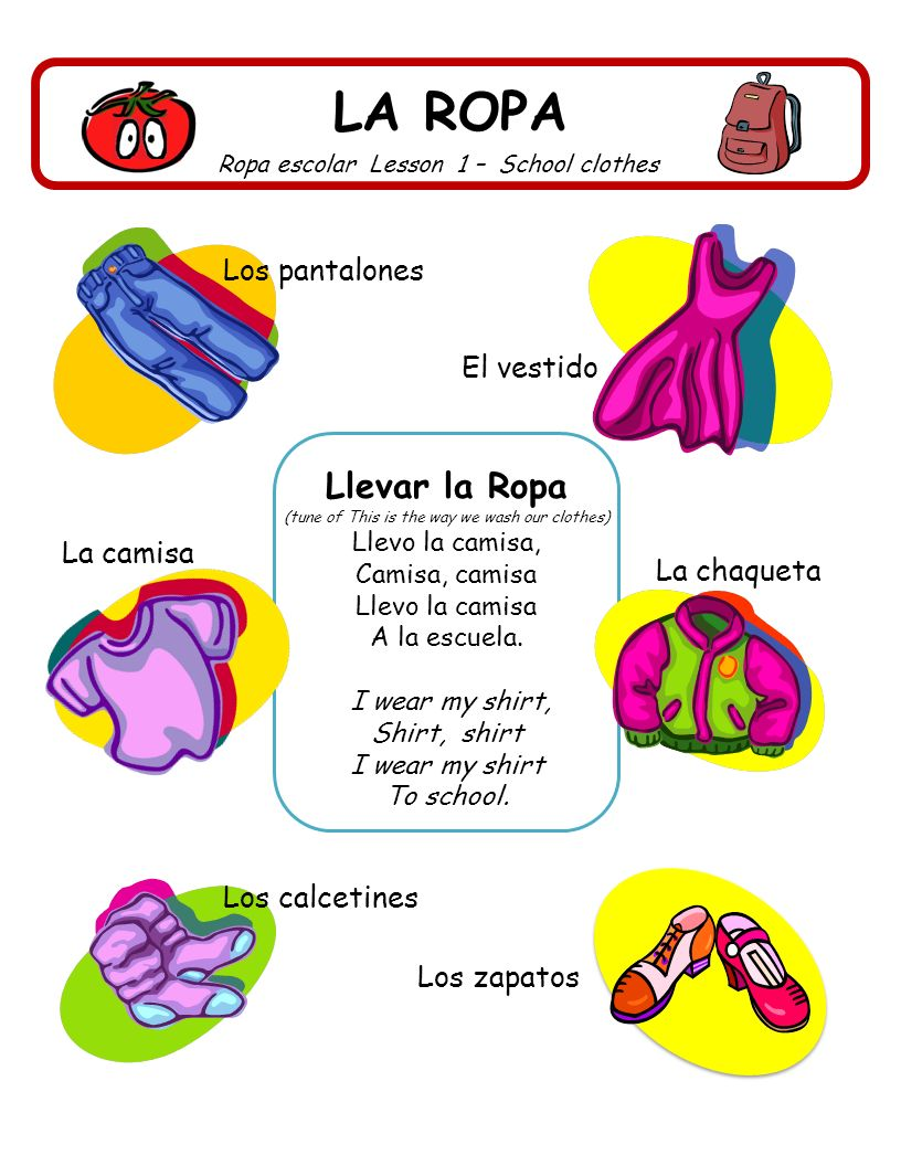 LA ROPA Ropa escolar Lesson 1 – School clothes Llevar la Ropa (tune of This is the way we wash our clothes) Llevo la camisa, Camisa, camisa Llevo la c