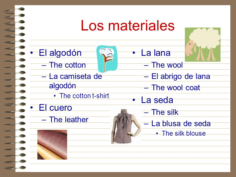 Los materiales El algodón –The cotton –La camiseta de algodón The cotton t-shirt El cuero –The leather La lana –The wool –El abrigo de lana –The wool