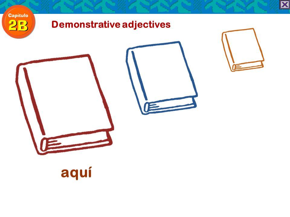 Demonstrative adjectives aquí allí