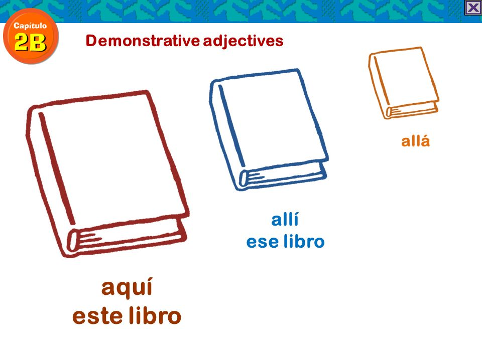 Demonstrative adjectives aquí este libro allí ese libro allá